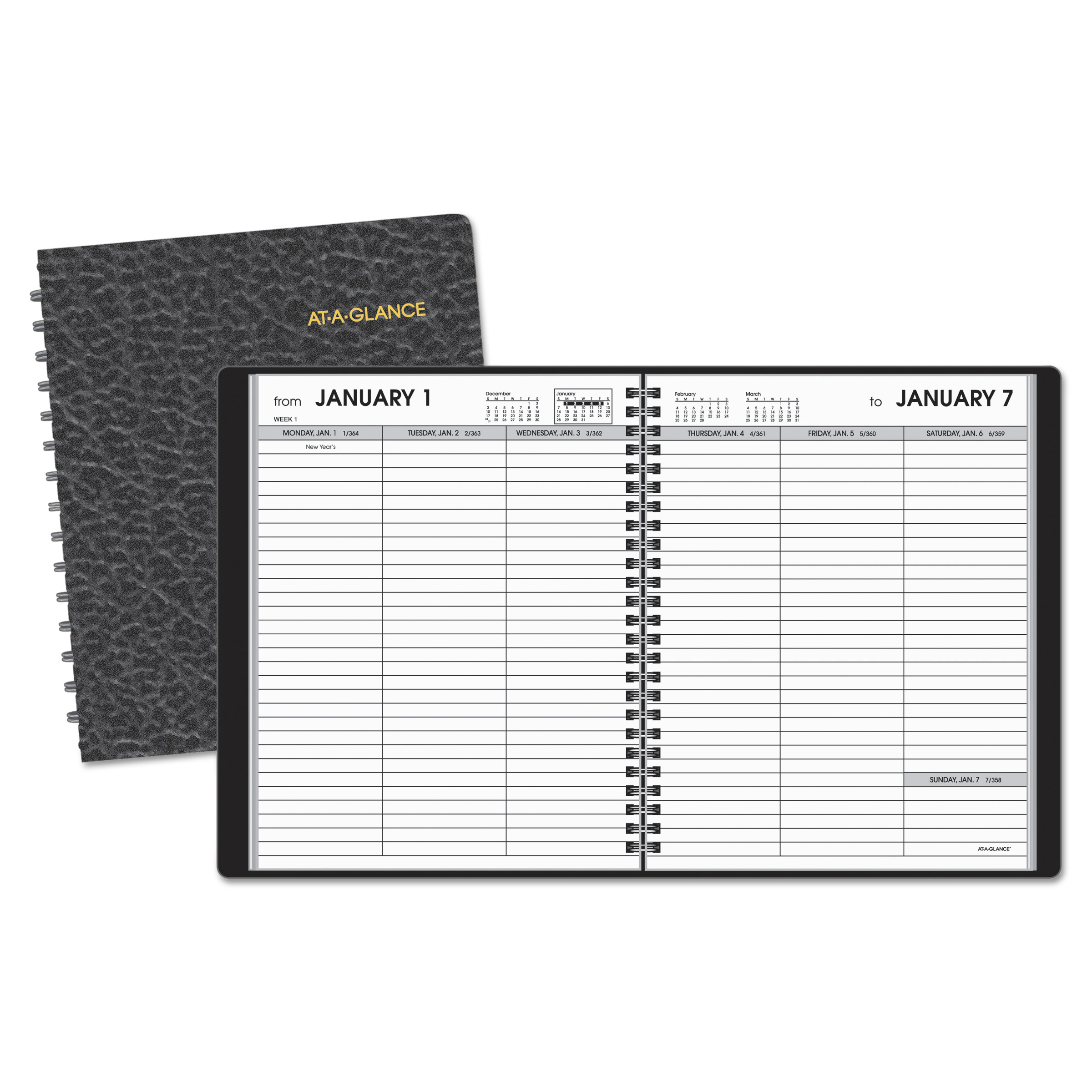 At-A-Glance 7085505 Weekly Planner Ruled For Open Scheduling, 6 3/4 X 8 3/4, Black, 2017