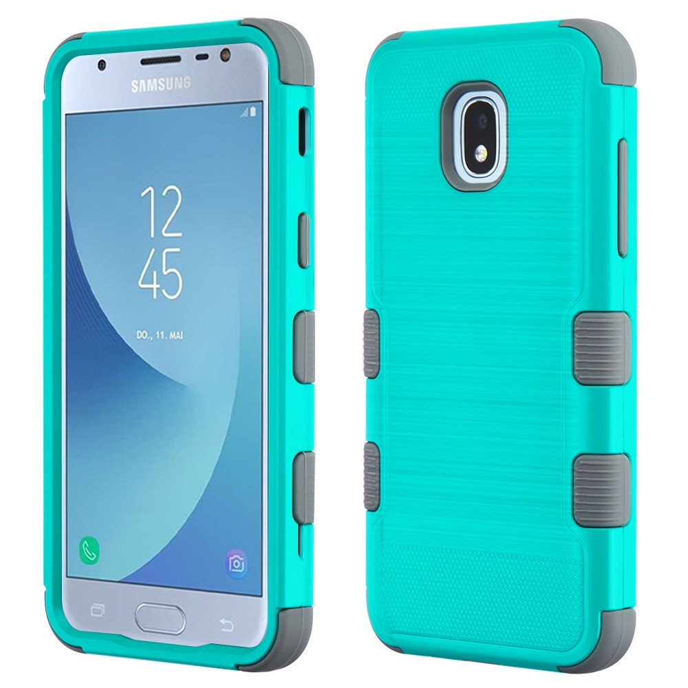 TUFF Hybrid Series Military Grade Certified Metallic Brushed Slate Finish Phone Protector Cover Case and Atom Cloth for Samsung Galaxy Amp Prime 3 (Cricket) - Teal/Gray