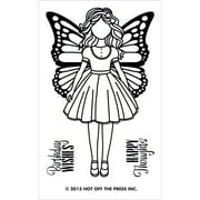 """Hot Off The Press Acrylic Stamps 2.5""""X5.5""""-Small Girl W/Butterfly Wings"""
