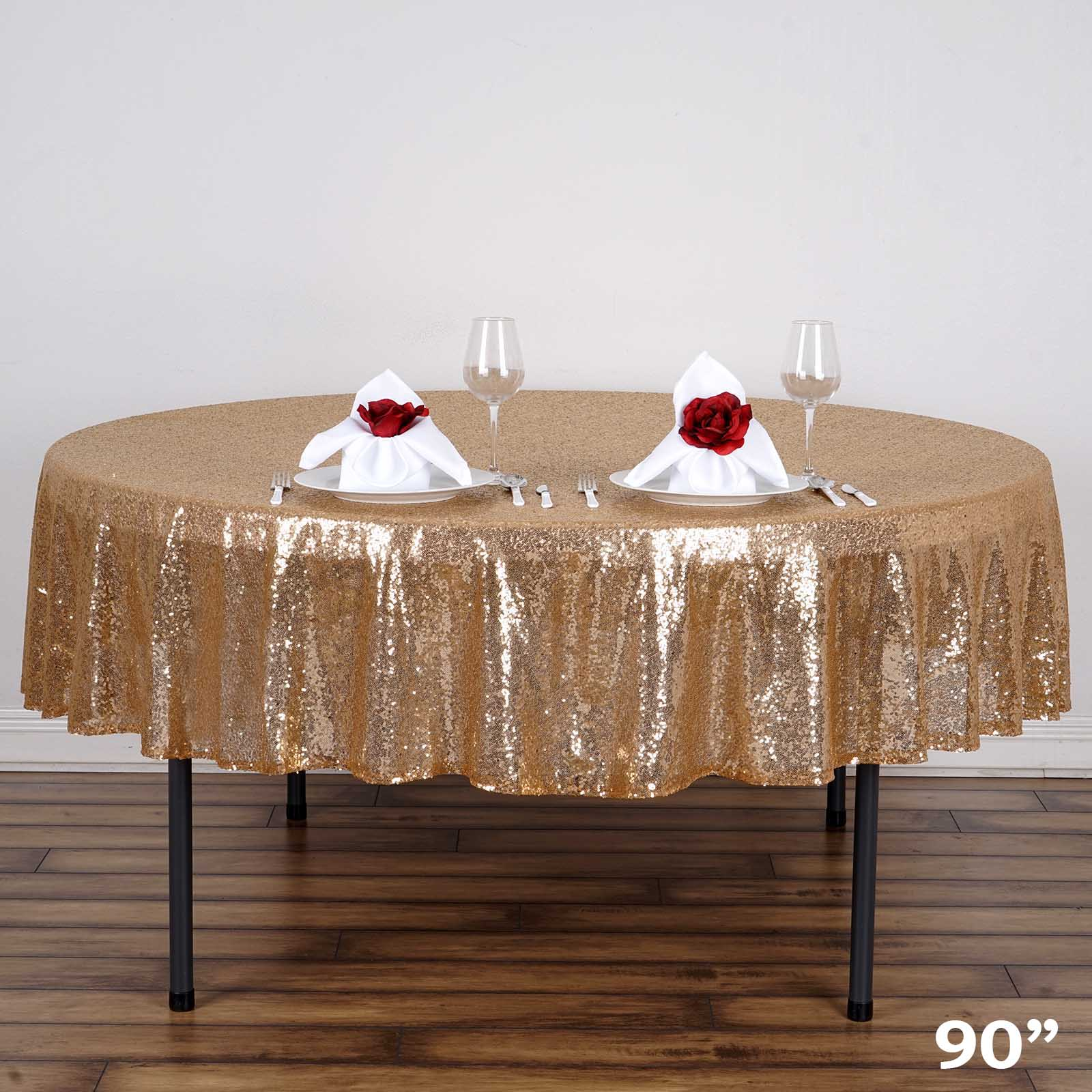 """BalsaCircle 90"""" Sequin Round Tablecloth for Party Wedding Reception Catering Dining... by"""