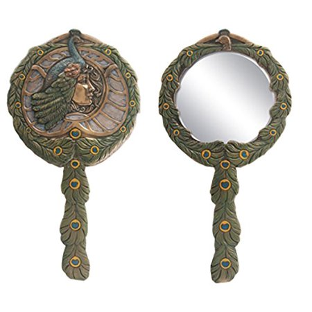 Countess Mirror (Beautiful Cleopatra Peacock Countess Bronzed Patina Hand Mirror Art)