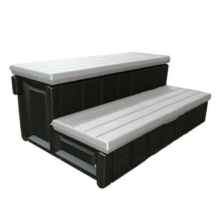 Image of Leisure Accents 36 Inch Deck Patio Spa Hot Tub Storage Compartment Steps, Gray