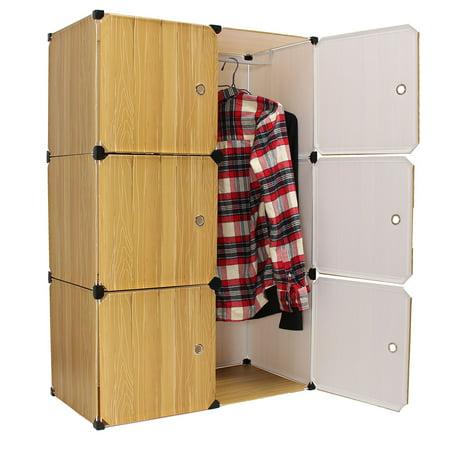 Diy 76x37x111cm Portable Closet Storage Organizer Cabinet 6 Cube Clothes Toy Shoe Rack Shelf Wardrobe Shelves Decor Home Bedroom Office Book