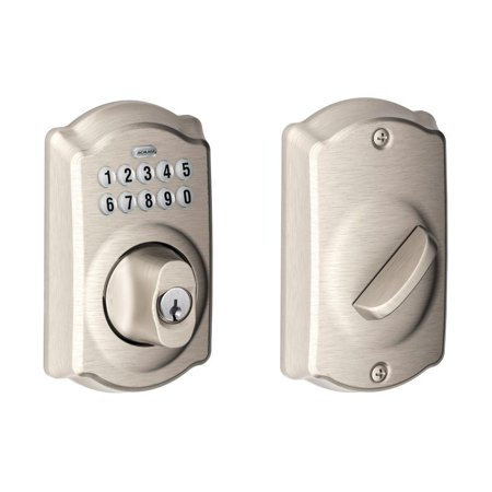 - Schlage BE365 CAM 619 Camelot Keypad Electronic Door Lock Deadbolt with Silicone-Coated Keypad, Satin Nickel (New Open Box)