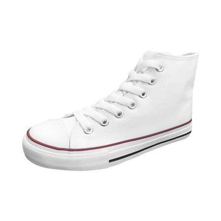 Ish Original Official Women White Blank High Top Red Black Rubber Sole Casual Canvas Sneaker Shoes Size (Prada Rubber Sole Sneakers)