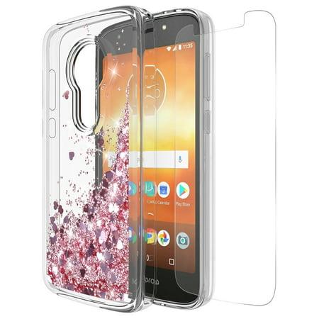 Moto E5 Play Case , Moto E5 Cruise Case With Tempered Glass Screen  Protector, Rosebono Quicksand Glitter Liquid Clear Soft TPU Bumper  Protective Cover