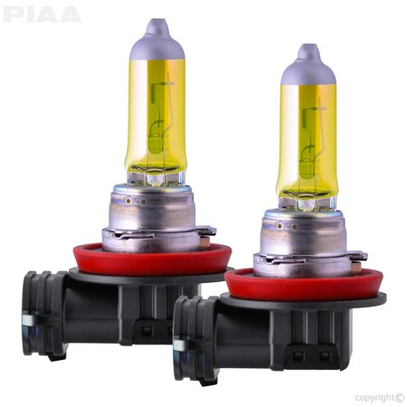 PIAA 22-13411 H11 Solar Yellow Replacement Bulb; 12V; 55W; 2500K; Twin Pack;