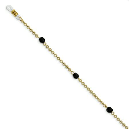 - Gold-tone Black Glass Beaded 32in Eyewear Holder