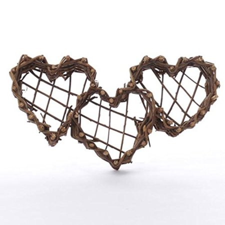 Pair of Lovely Hand-Fashioned, Heart Shaped Grapevine Twig Wall Baskets for Hanging, Displaying and Crafting, Pair of Lovely Hand-Fashioned,.., By Factory Direct - Grapevine Heart
