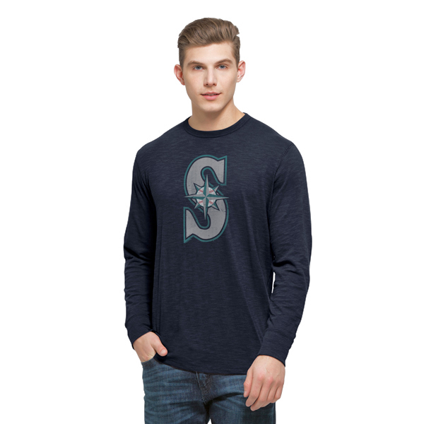 Men's '47 Navy Seattle Mariners Basic Logo Long Sleeve Scrum T-Shirt