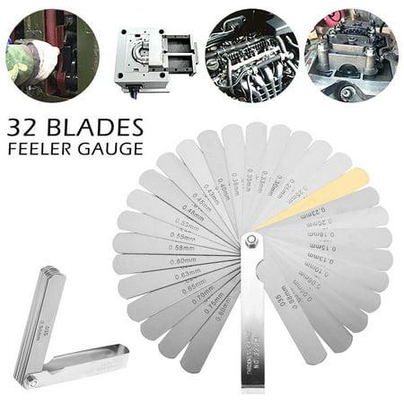 32 Blade Metric Feeler Gauge Filler Blade Laser Tune Up Thickness Set