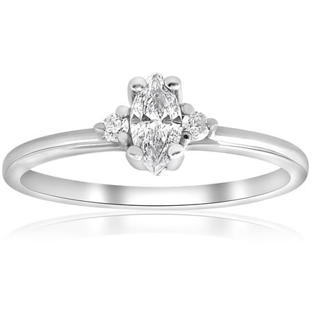 Marquise Diamond Three Stone Engagement Ring 1/3 ct 10k White Gold - image 4 of 4