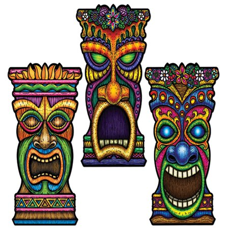 Club Pack of 24 Multi-Colored Tiki Head Cutout Party Decorations 22