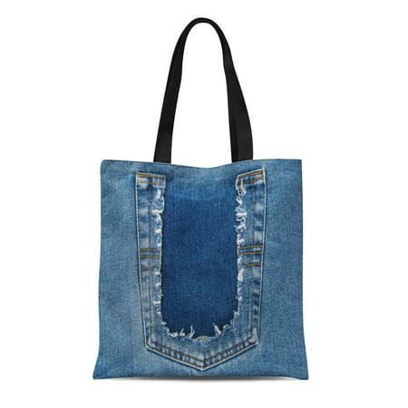 SIDONKU Canvas Tote Bag Aged Destroyed Torn Denim Blue Jeans Pocket Ripped Back Durable Reusable Shopping Shoulder Grocery Bag