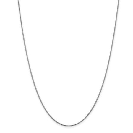 14k White Gold 1.2mm Round Snake Chain Necklace - Lobster Claw - Length: 16 to 30