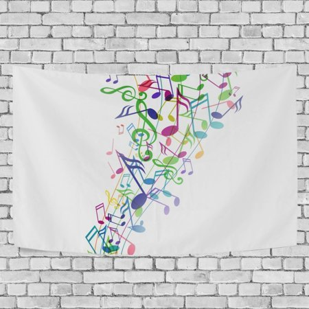 Music Note Decorations (MYPOP Music Note Tapestry Wall Hanging Decoration Home Decor Living Room Dorm 60x51)