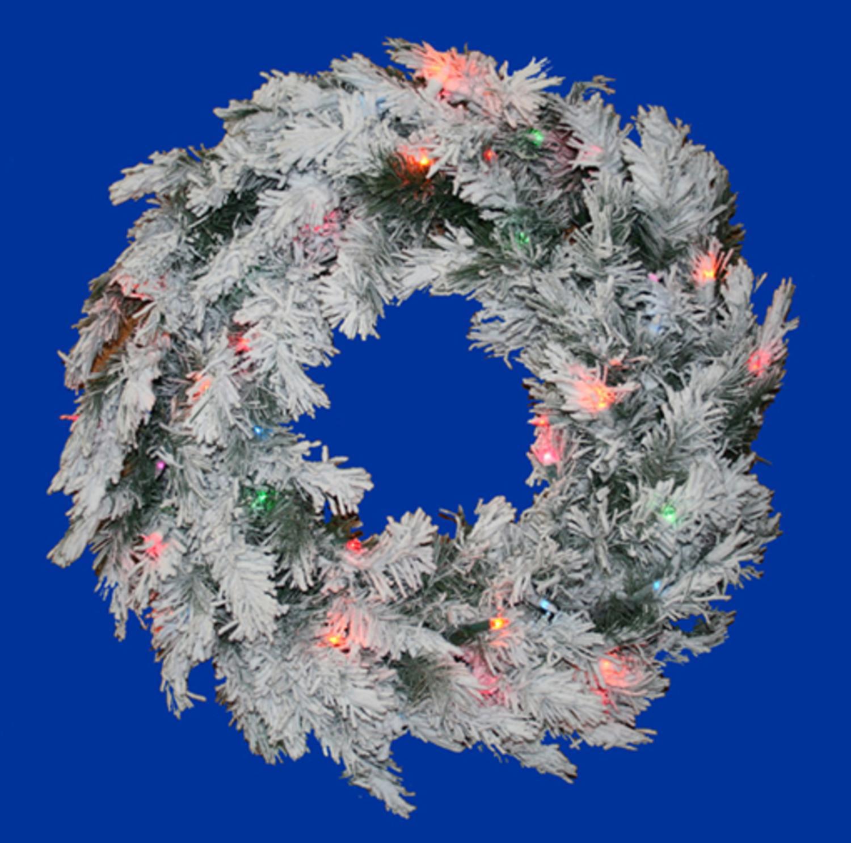 "Vickerman 48"" Prelit Flocked Alaskan Artificial Christmas Wreath - Multi Dura Lights"