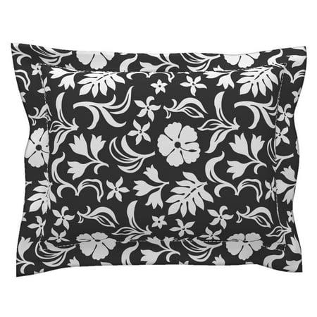 Tiki Hawaii Beach Jungle Tahiti Tropical Black And White Pillow Sham by Roostery (Jungle Block)