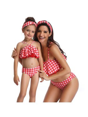 Styles I Love Family Matching Floral Leaf Printed Bikini Swimsuit Pool Water Game Swimwear Beach Bathing Suit for Mom and Daughter (Red Checkered, Mom L)