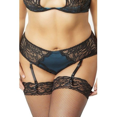 Oh La La Cheri OLL-28-10803X Lace and Fishnet Highwaisted Panty with Satin Overlay and Removable Garter Straps 2X / BLACK/PEACOC