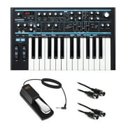 Novation Bass Station II Monophonic Analog Synthesizer with Sustain Pedal (Piano-Style) & 10' MIDI Cable Bundle