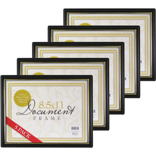 8.5x11 Document Frame, Black with Gold Trim, Set of 5