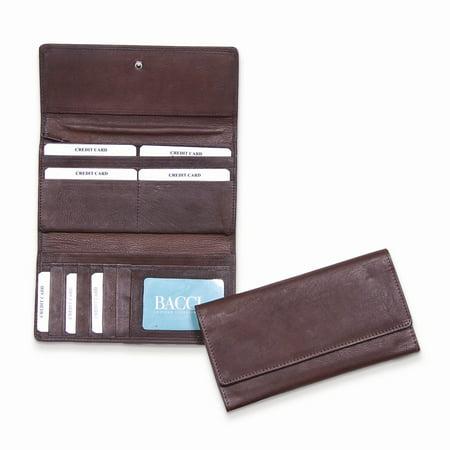 Brown Flap Over Clutch Wallet