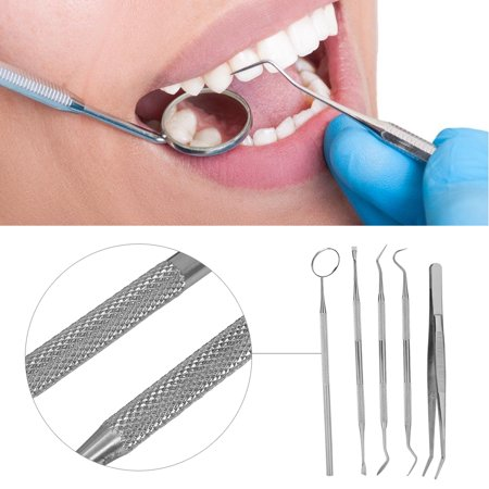 WALFRONT 5Pcs Dentist Tool Kit, Professional Stainless Steel Pick Oral Care Dental Hygiene Kit for Personal & Pet Use - image 1 de 9