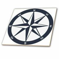3dRose Blue and White Nautical Compass - Ceramic Tile, 4-inch