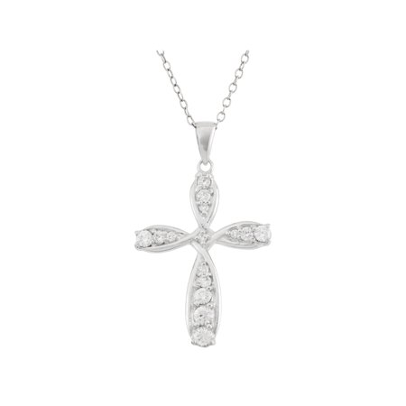 White CZ Sterling Silver Looped Cross Pendant, 18""