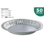 """Handi-Foil 10"""" (Actual Top-Out 9-5/8 Inches - Top-In 8-3/4 Inches) Aluminum Foil Pie Pan - Disposable Baking Tin Plates (50)"""