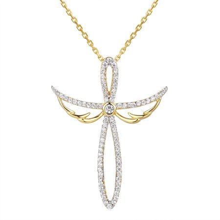 Angel Design Cross Pendant Sterling Silver Gold Tone Necklace Custom 18