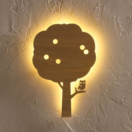 Owl in Apple Tree Wall Accent Lamp - LED Lights - Laser Cut MDF Wood ...
