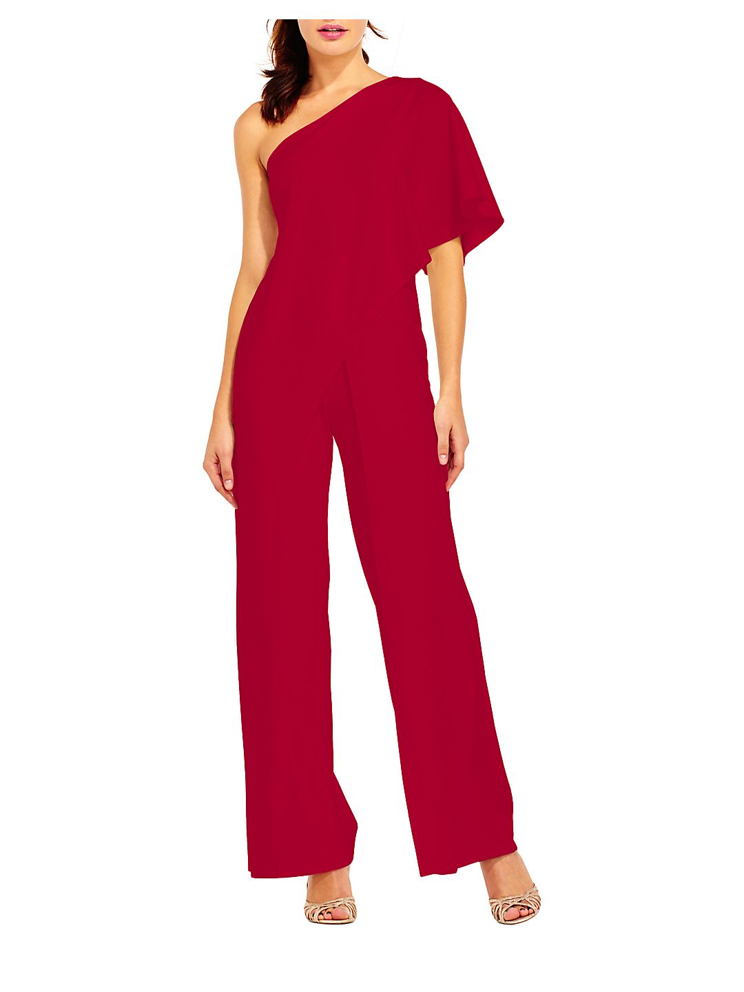 Adrianna Papell Women's One Shoulder Crepe Melania Jumpsuit