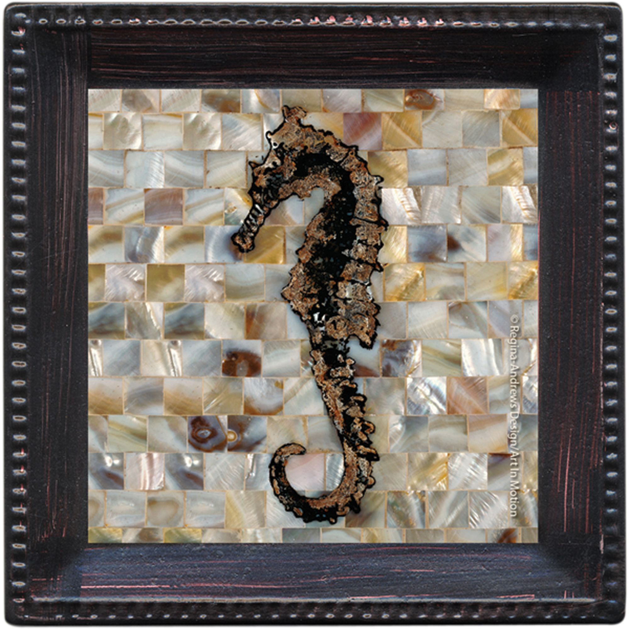 Thirstystone Ambiance Drink Coasters Set, Pearlized Seahorse, Bronze