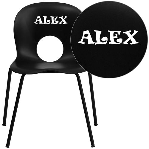 Personalized HERCULES Series 770 lb. Capacity Designer Black Plastic Stack Chair with Black Frame FLARUTNC258BKEMBVYLGG
