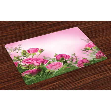 Flower Placemats Set of 4 Spring Season Time Roses with Leaves and Buds with Pink Ombre Atmosphere Image, Washable Fabric Place Mats for Dining Room Kitchen Table Decor,Pink and Green, by Ambesonne