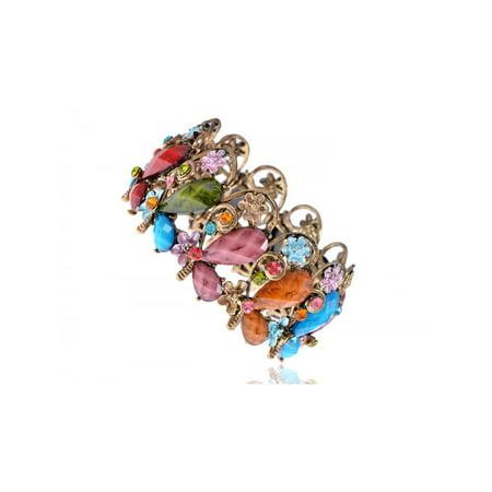 Dragonfly Cuff Bracelet - Fun Colorful Bead Butterfly Dragonfly Flower Garden Fashion Bracelet Bangle Cuff