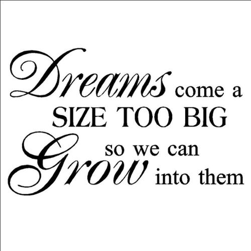 'Dreams come a size too big, so we can grow into them' Vinyl Wall Art Lettering