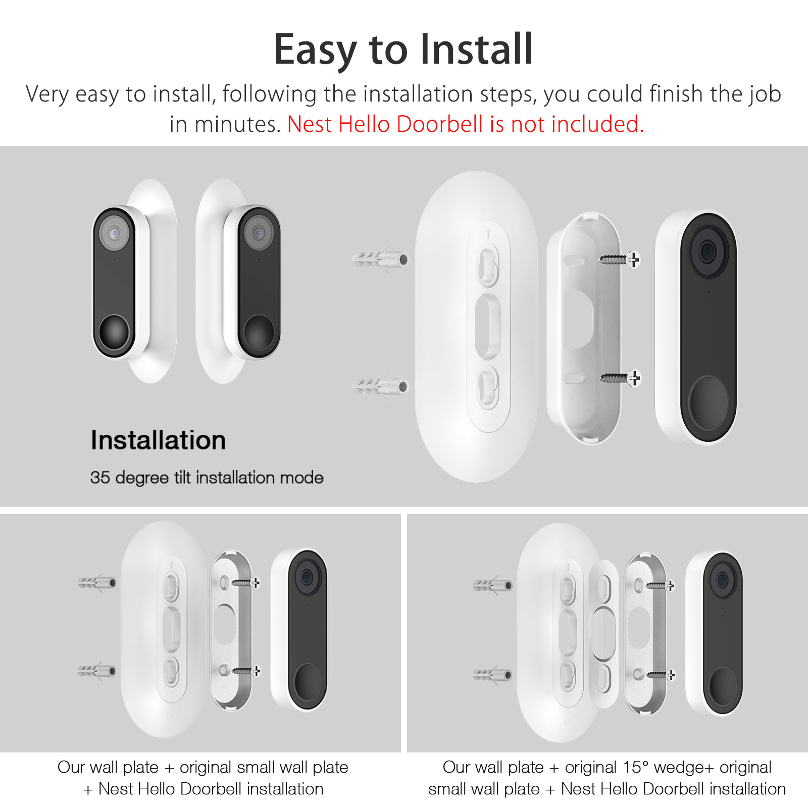 Wall Plate Hard Abs Plastic Wall Plate Bracket Cover For Nest Hello Video Doorbell Compatible With Doorbell Base And Adjustable Wedge