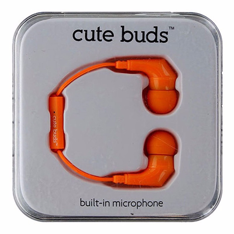 iHip cute buds Earphones with Pause and Play Microphone - Orange