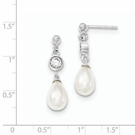 ca5b3f440 925 Sterling Silver Freshwater Cultured Pearl Cubic Zirconia Cz Post Stud  Drop Dangle Chandelier Earrings Fine ...