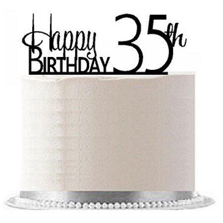 ItemAE 138 Happy 35th Birthday Agemilestone Elegant Cake Topper