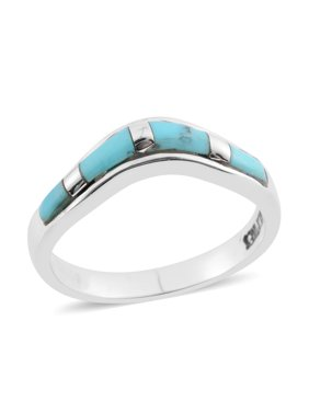 Southwest Jewelry Band Ring for Women 925 Sterling Silver Kingsman Turquoise Gift