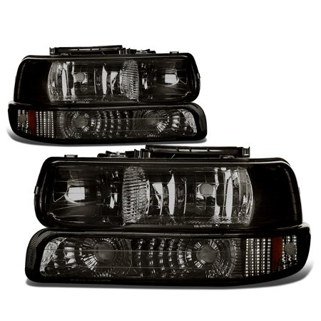 - For 99-06 Chevy Silverado/Tahoe 4Pcs Headlight + Bumper Lamps Smoked Housing Amber Side - GMT800 00 01 02 03 04 05 Left+Right