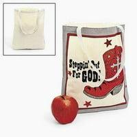 Large Natural Color Canvas Tote Bags (1 dozen) - Bulk [Toy]