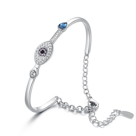 Swarovski Crystal Bangle Bracelet Jewelry (Evil Eye Bangle Bracelet with Swarovski)