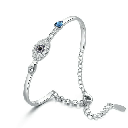 Evil Eye Bangle Bracelet with Swarovski Crystals
