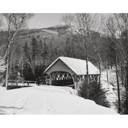 Notched Cover (Posterazzi Snow covered road leading to a covered bridge Old Lattice Covered Bridge Pemigewasset River Franconia Notch State Park New Hampshire USA Canvas Art -  (24 x 36) )