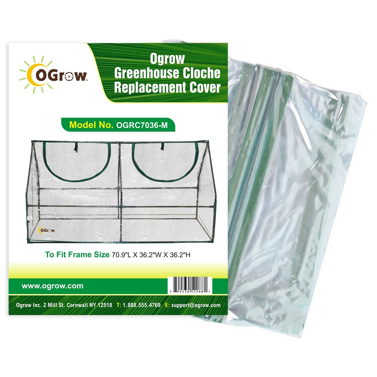 "Greenhouse Cloche Replacement Cover - To Fit Frame Size  70.9""L X 36.2""W X 36.2""H"